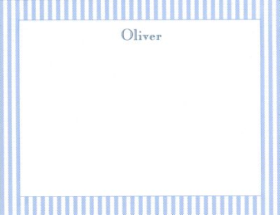 Blue Seersucker Flat Note Card Personalized by Boatman Geller