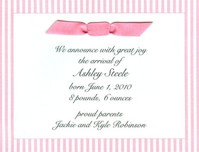 Pink Seersucker Invitation or Announcement Personalized by Boatman Geller