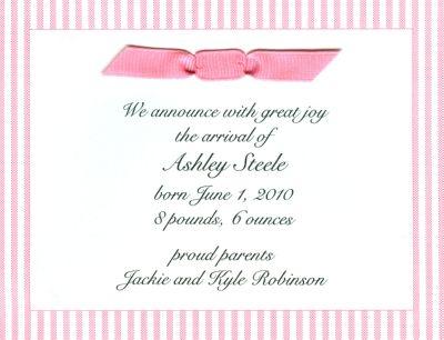 Pink Seersucker Invitation or Announcement Personalized by Boatman Geller