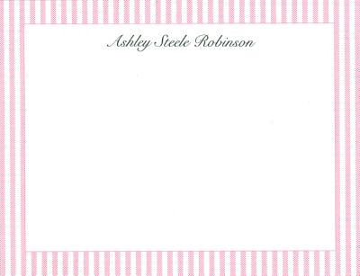 Pink Seersucker Flat Note Card Personalized by Boatman Geller