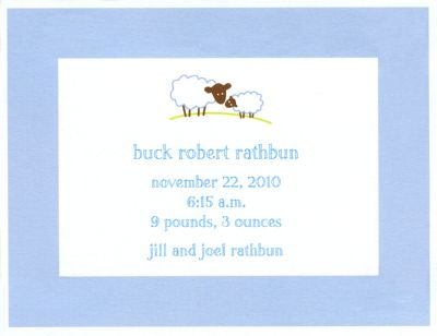 Baby Lamb Blue Invitation or Announcement Personalized by Boatman Geller