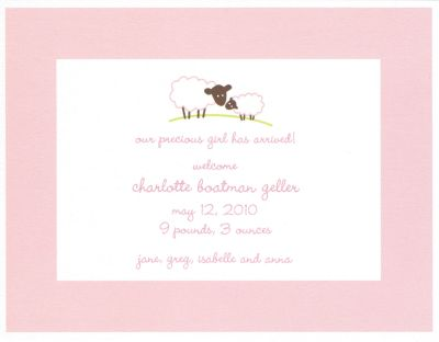 Baby Lamb Pink Invitation or Announcement Personalized by Boatman Geller