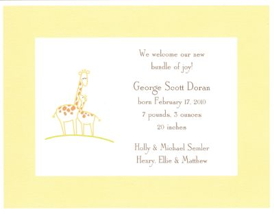 Baby Giraffe Yellow Invitation or Announcement Personalized by Boatman Geller