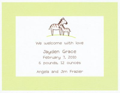 Baby Zebra Green Invitation or Announcement Personalized by Boatman Geller
