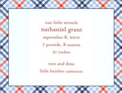 Red and Blue Check Invitation or Announcement Personalized by Boatman Geller