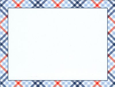 Red and Blue Check Flat Note Card Personalized by Boatman Geller