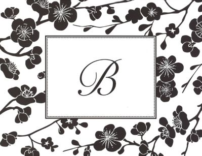 Black Blossom Foldover Note Personalized by Boatman Geller