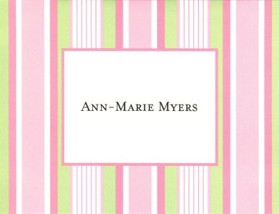 Pink Multi Stripe Foldover Note Personalized by Boatman Geller