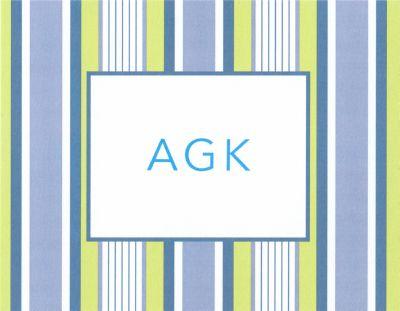 Blue Multistripe Foldover Note Personalized by Boatman Geller