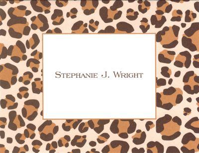 Brown Leopard Foldover Note Personalized by Boatman Geller