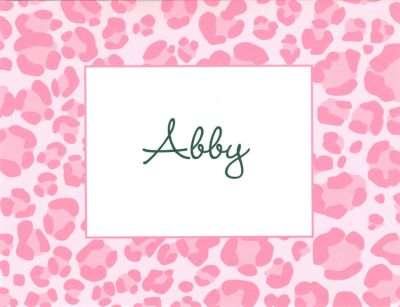 Pink Leopard Foldover Note Personalized by Boatman Geller