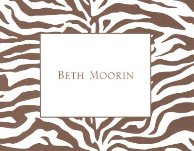 Zebra Brown Foldover Note Personalized by Boatman Geller