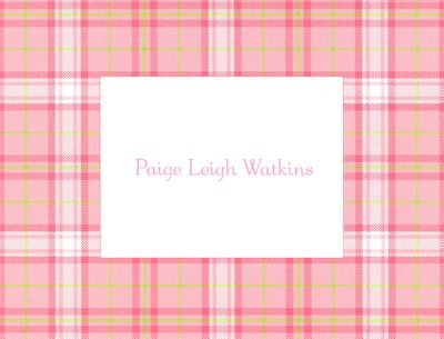 Pink Plaid Foldover Note Personalized by Boatman Geller