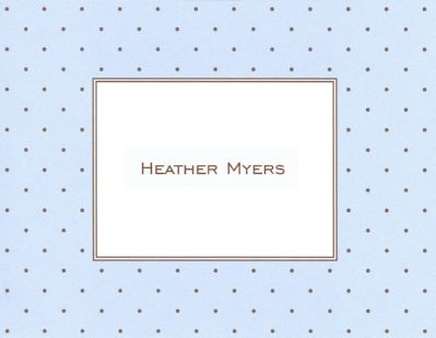 Blue with Brown Dot Foldover Note Personalized by Boatman Geller