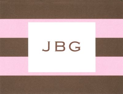 Pink and Brown Rugby Foldover Note Personalized by Boatman Geller