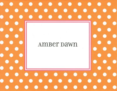 Orange Dot Foldover Note Personalized by Boatman Geller