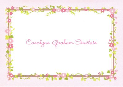Floral Border Foldover Note Personalized by Boatman Geller