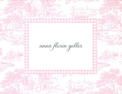 Pink Toile Foldover Note Personalized by Boatman Geller