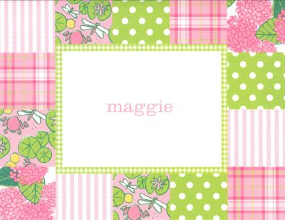 Pink Patchwork Foldover Note Personalized by Boatman Geller