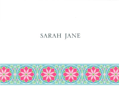Bright Blue Floral Band Foldover Note Personalized by Boatman Geller