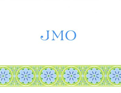 Lime Floral Band Foldover Note Personalized by Boatman Geller