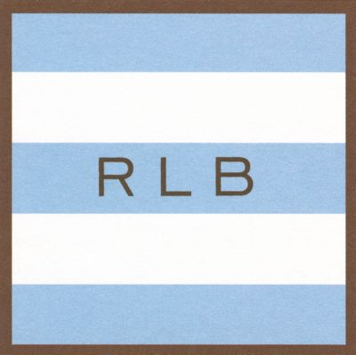 Blue and Brown Border Stripe Square Gift Sticker Personalized by Boatman Geller