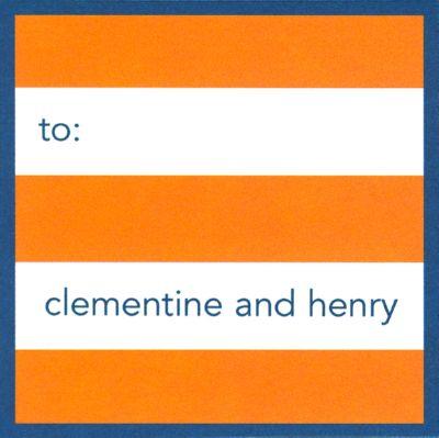 Orange Stripe - Navy Border Square  Gift Sticker Personalized by Boatman Geller