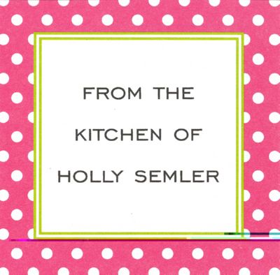 Pink Polka Dot Square Gift Sticker Personalized by Boatman Geller