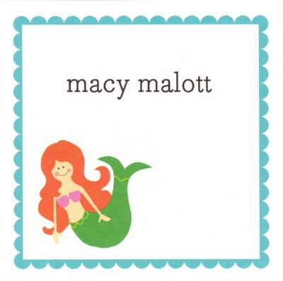 Mermaid Square Gift Sticker Personalized by Boatman Geller