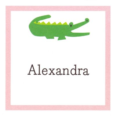 Alligator Pink Square Gift Sticker Personalized by Boatman Geller