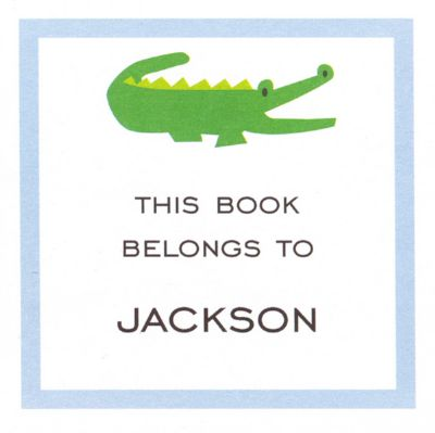 Alligator Blue Square Gift Sticker Personalized by Boatman Geller