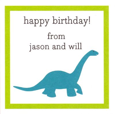 Dinosaur Square Gift Sticker Personalized by Boatman Geller