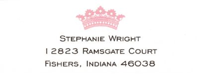 Pink Crown Return Address Label