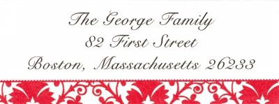 Damask Red Address Label Personalized by Boatman Geller