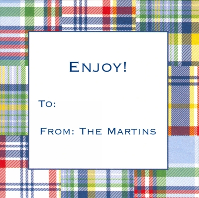 Madras Patch Blue Square Sticker Personalized by Boatman Geller