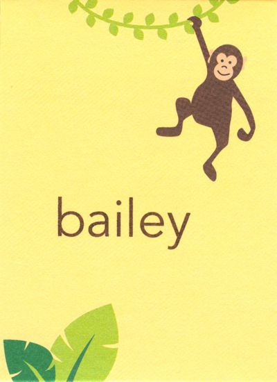 Monkey Rectangle Gift Sticker Personalized by Boatman Geller
