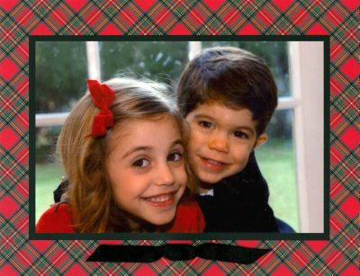 Plaid Red Folded Digital Photo Card