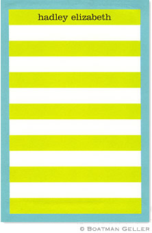 Rugby Stripe Lime with Blue Border Notepad
