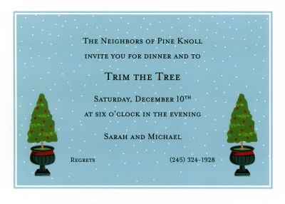 Topiary Evergreen Flat Invitation Personalized by Boatman Geller