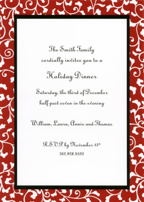 Vines Red Flat Invitation Personalized by Boatman Geller