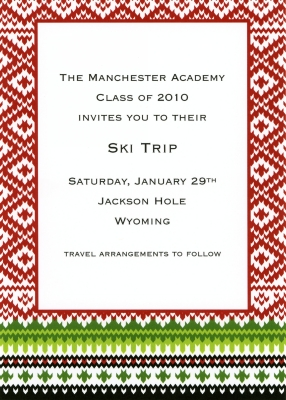 Fair Isle Red Flat Invitation Personalized by Boatman Geller
