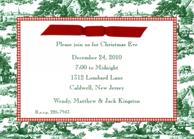 Toile Dark Green & Red Check Flat Invitation Personalized by Boatman Geller