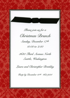 Damask Red Flat Invitation Personalized by Boatman Geller