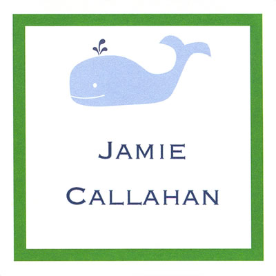 Whale Square Gift Sticker Personalized by Boatman Geller