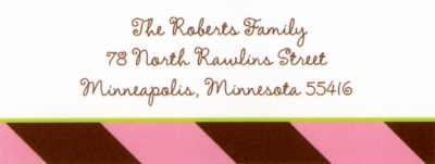 Stripes Pink & Brown Address Label