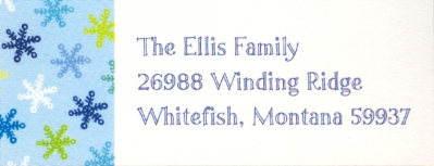 Snowflake Light Blue Address Label