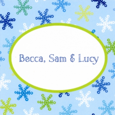 Snowflake Light Blue Square Sticker Personalized by Boatman Geller