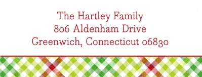 Gingham Check Green Address Label