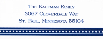 Beaded Navy Address Label
