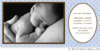 Blue with Brown Dot Photo Card Personalized by Boatman Geller